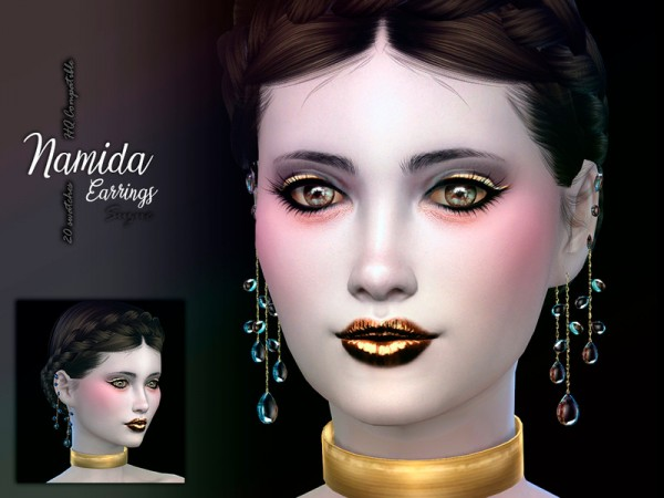 The Sims Resource: Namida Earrings by Suzue