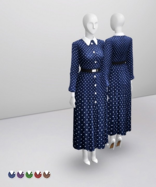 Rusty Nail: Navy Polka Silk Midi Dress