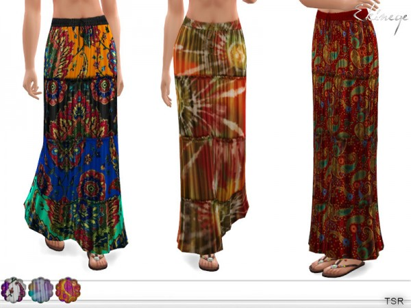 The Sims Resource: Tiered Printed Maxi Skirt by ekinege