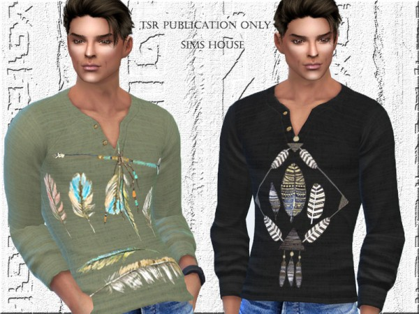 The Sims Resource: Mens shirt in the style of boho by Sims House