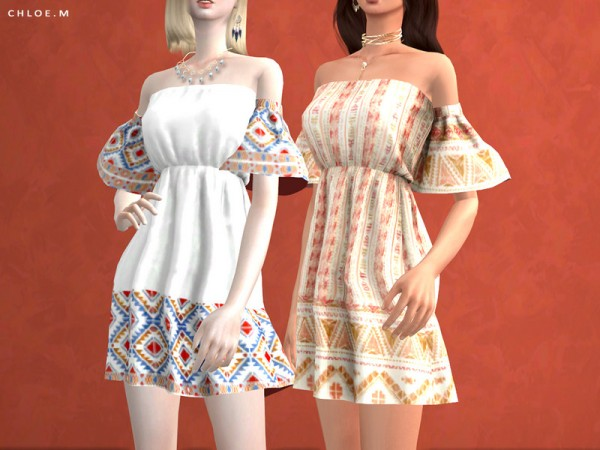 The Sims Resource: Boho style Dress by ChloeMMM