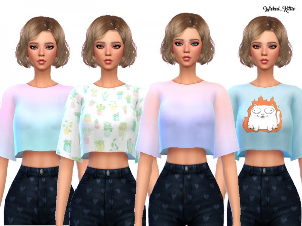 The Sims Resource: Snazzy Cropped Tees by Wicked Kittie