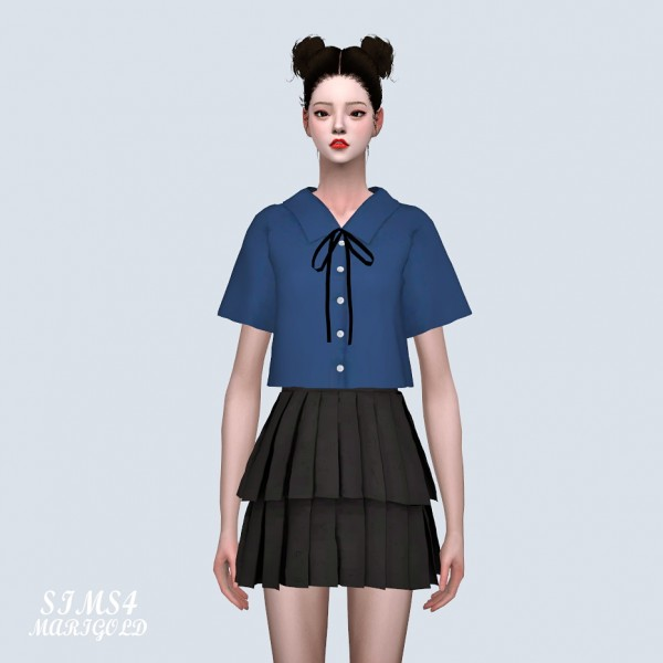 SIMS4 Marigold: 2 Pleats Mini Skirt 2