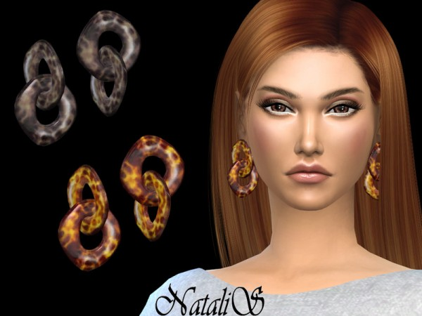 The Sims Resource: Tortoiseshell resin earrings by NataliS