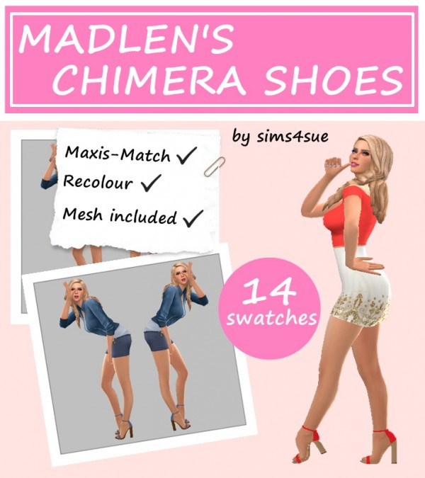 Sims 4 Sue: Madlen`s Chimera Shoe Recolored