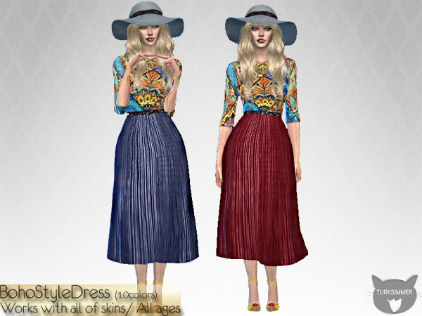 The Sims Resource: BohoStyle Dress by turksimmer