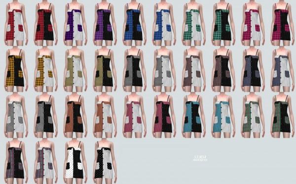 SIMS4 Marigold: Two Tone Pocket Mini Dress