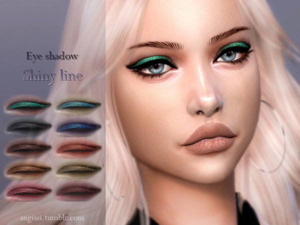 The Sims Resource: Eyeshadow  Shiny line by ANGISSI