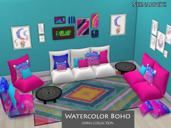 The Sims Resource: Watercolor Boho Living Collection by neinahpets