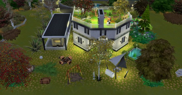 Mod The Sims: Two Story House with garden on rooftop by heikeg