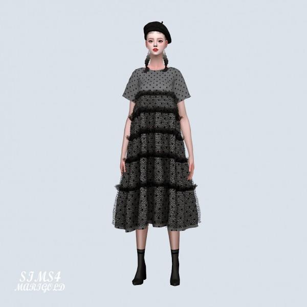 SIMS4 Marigold: Dot Tiered Long Dress