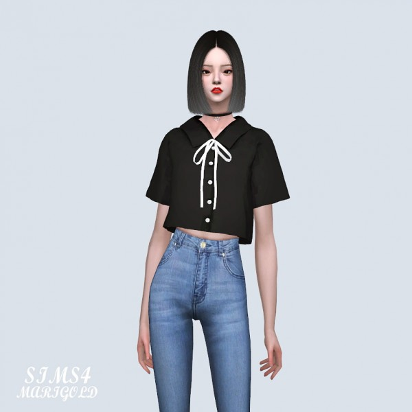 Sims4 Marigold Short Sleeves Shirts With Bow Sims 4 Downloads