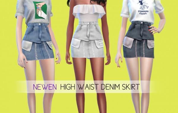 Newen: High Waist Denim Skirt