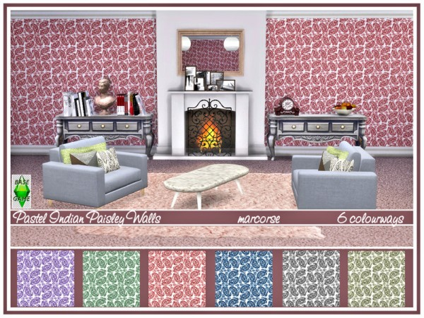 The Sims Resource: Pastel Indian Paisley Walls by marcorse