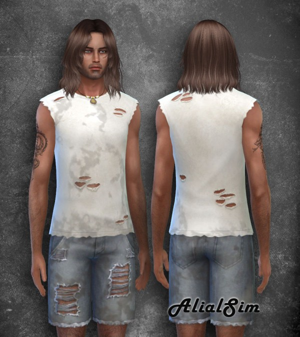 Alial Sim: Dirty ripped t shirt and shorts
