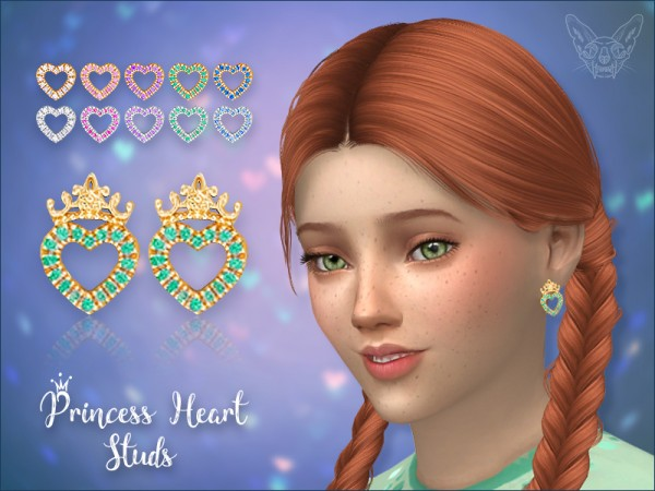 The Sims Resource: Princess Heart Studs For Kids