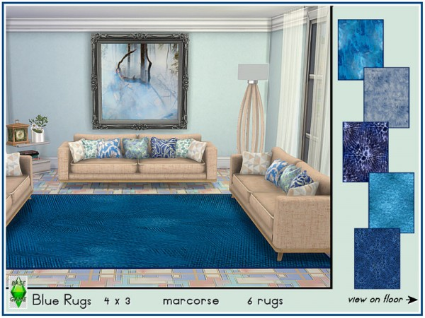 The Sims Resource: Blue Rugs by marcorse