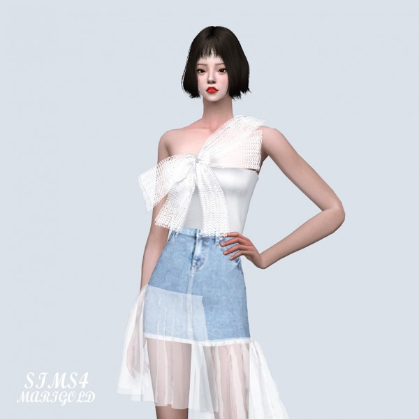 SIMS4 Marigold: Big Bow Strap Crop Top