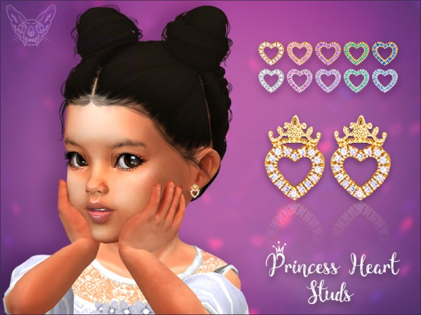 Giulietta Sims: Princess Heart Stud Earrings For Toddlers