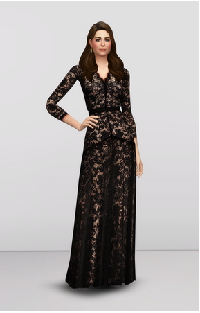 Rusty Nail: Black Lace Dress Gown