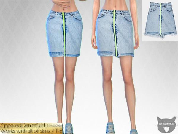 The Sims Resource: Zippered Denim Skirt by turksimmer