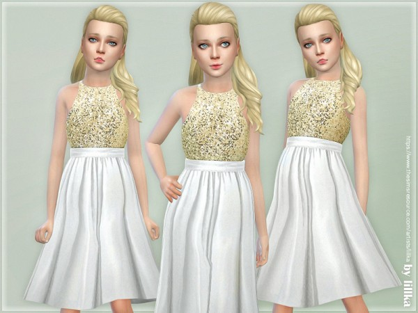 The Sims Resource: Gold Sequin Dress by lillka