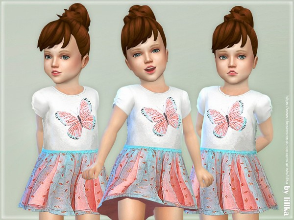 The Sims Resource: Butterfly Toddler Dress by lillka