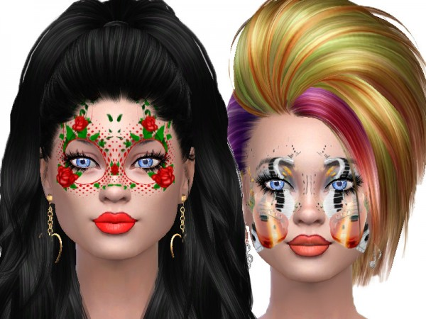 The Sims Resource: Flower and music face paint by TrudieOpp