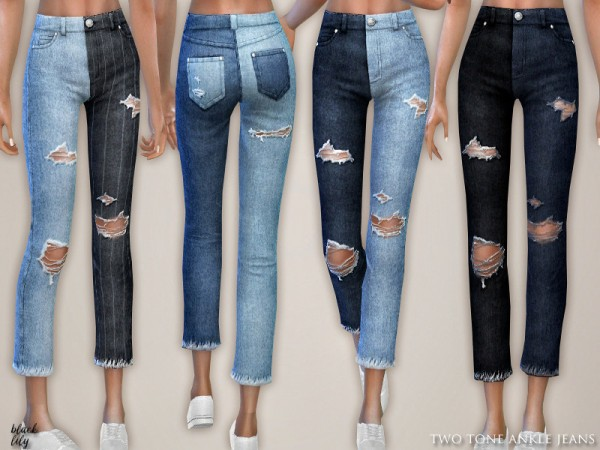 The Sims Resource: Two Tone Ankle Jeans by Black Lily