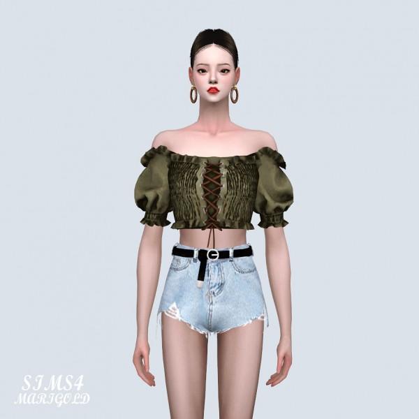 SIMS4 Marigold: Off Shoulder Corset Crop Top