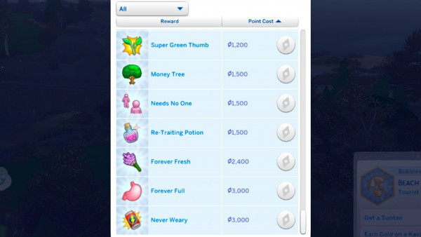 Mod The Sims: Cheaper (or more expensive) Aspiration Rewards by Todecide