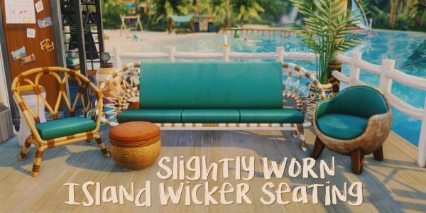 Picture Amoebae: Slightly worn island wicker seating