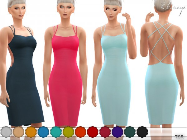 The Sims Resource: Crisscross Back Midi Dress by ekinege