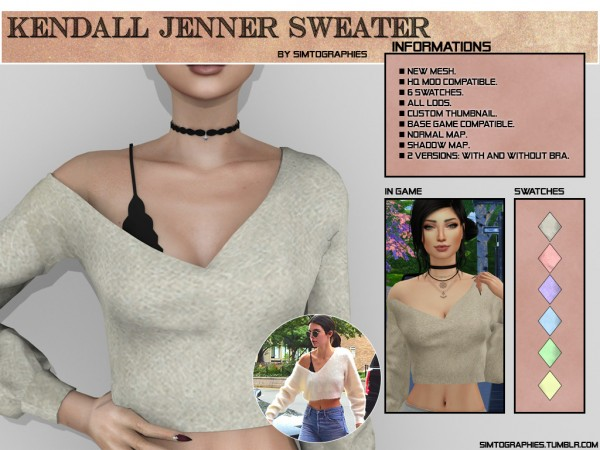 Simtographies: Kendall Jenner Sweater