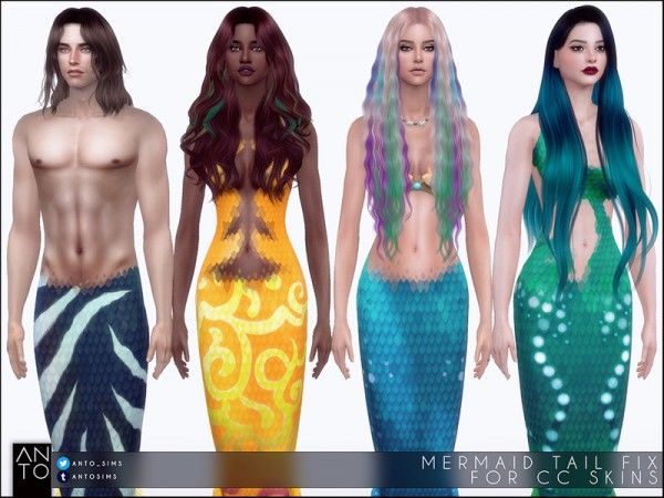 The Sims Resource: Mermaid tail fix for CC skins by Anto