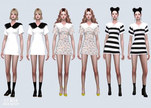 SIMS4 Marigold: Double Big Collar Mini Dress