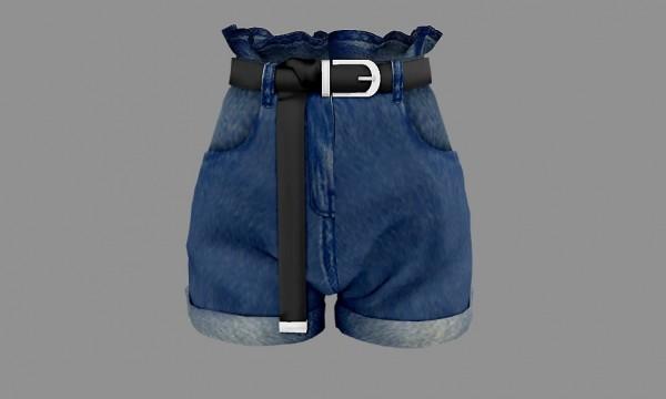 Newen: Frill denim shorts