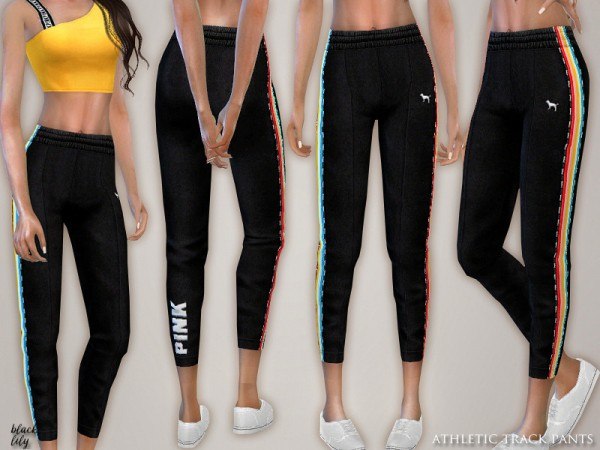 The Sims Resource: Athletic Track Pants by Black Lily