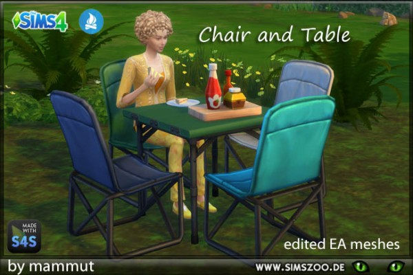 Blackys Sims 4 Zoo: Camping Chair and Table by mammut