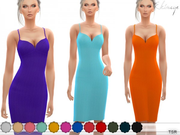 The Sims Resource: Ribbed Cami Midi Dress by ekinege