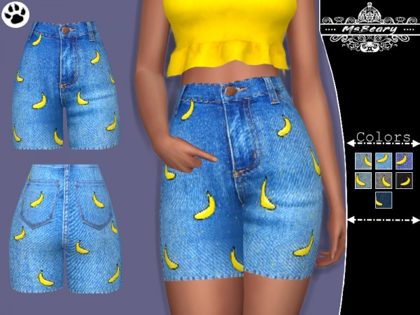 The Sims Resource: Denim Banana Shorts by MsBeary
