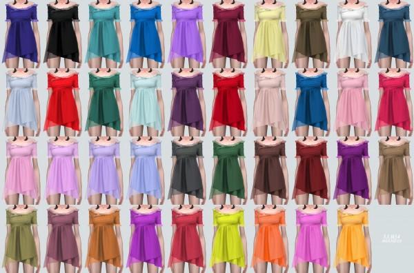 SIMS4 Marigold: Lily Frill Off Shoulder Mini Dress