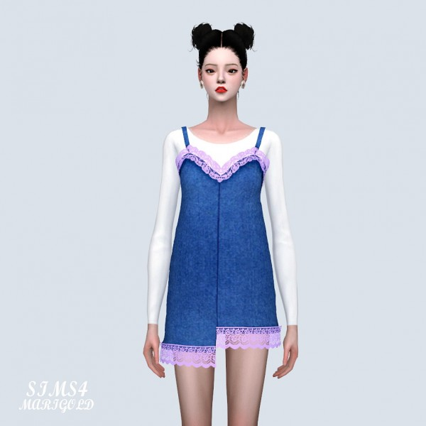 SIMS4 Marigold: Lace Uneven Mini Dress