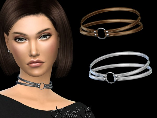 The Sims Resource: Double leather choker by NataliS