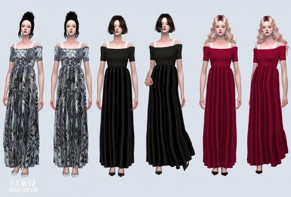 SIMS4 Marigold: Off Shoulder Flare Long Dress
