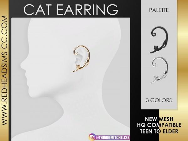 Red Head Sims: Cat Earrings