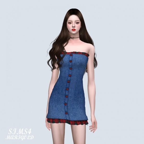 SIMS4 Marigold: MG Denim Frill Mini Dress