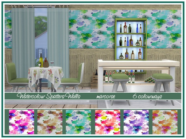 The Sims Resource: Watercolour Spatters Walls by marcorse