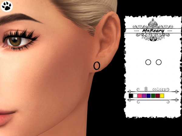 The Sims Resource: Small Plug Earrings by MsBeary