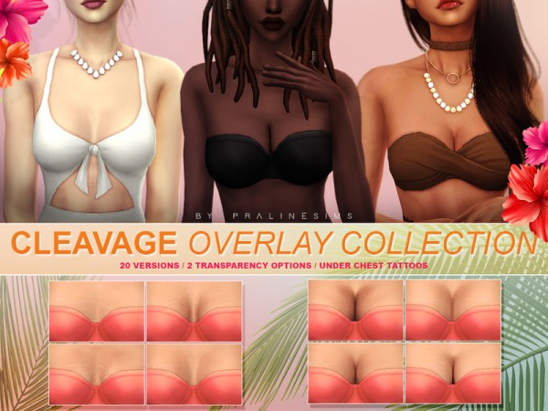 The Sims Resource: Cleavage Overlay Collection by Pralinesims